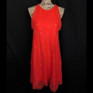 C&V L orange swing dress lace overlay dress boho